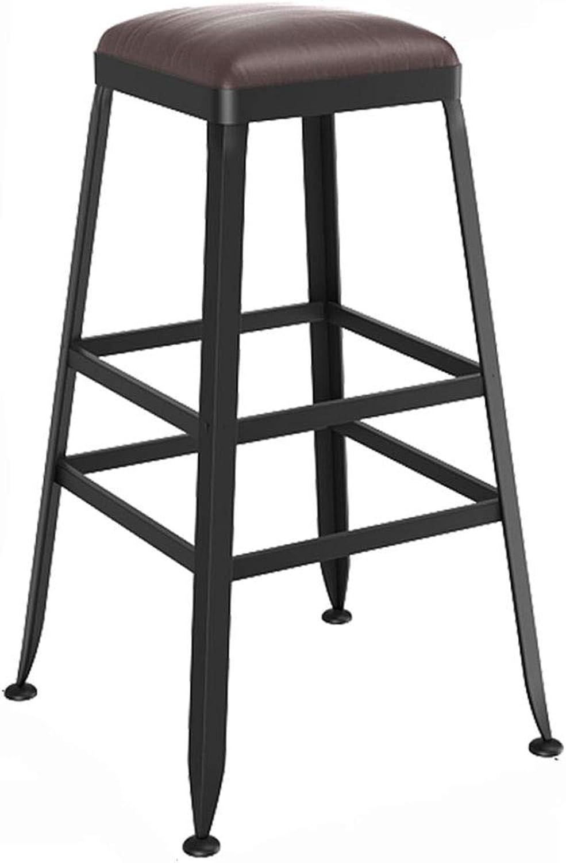 LJFYXZ Bar Stool Bar Furniture Breakfast Chair Iron Art Kitchen bar Counter High Stool PU Cushion Retro Style Bearing Weight 200kg (Size   65CM)