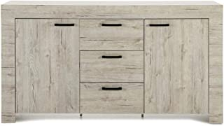 Dugar Home - Aparadores Modernos para Salón - Mueble Rectangular Michigan Roble Claro 2 Puertas 3 Cajones (150x42x85)