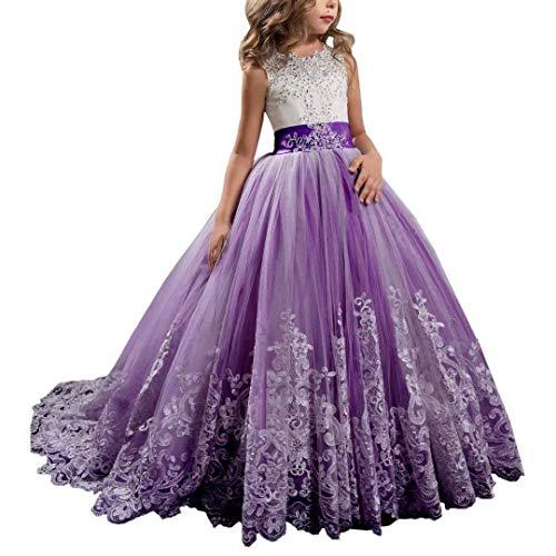 CDE Kinder Elegant Lang Spitzenkleid Tüllkleider mit Schleppe Mädchen Bestickt Prinzessin Kleider Ballkleider Cocktailkleid, Violett, 10