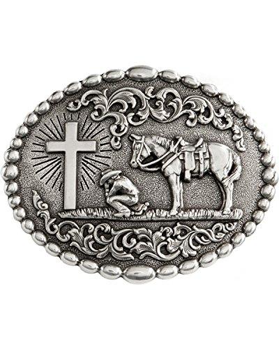 M F Western Products Boys Cowboy Prayer Buckle Pewter