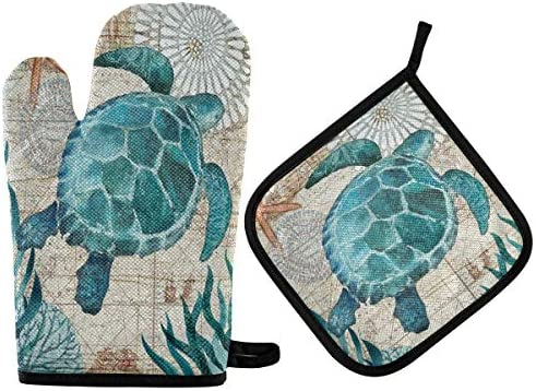 Sea Turtle Starfish Retro Map Oven Mitts Pot Holders Set Non Slip Nautical Ocean Cooking Kitchen product image