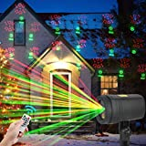 ORAOKO Christmas Dynamic Laser Lights with Remote Control, Waterproof Projector for Outdoor Garden Decorations, 12 Moving Pattern Landscape Light Show, Ideal for Halloween, Holiday, Parties