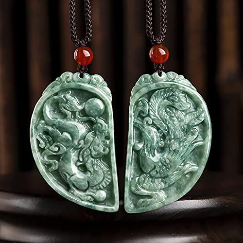 JIUXIAO Natural Myanmar Jadeite Jade Dragon y Phoenix Marca un par de Colgantes para Amantes de los Hombres y Mujeres Regalos de joyería de Alta Gama