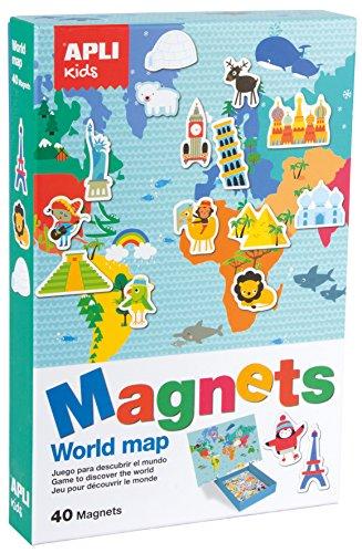 APLI Kids- Mapamundi Juego Magnético, Multicolor (16494)