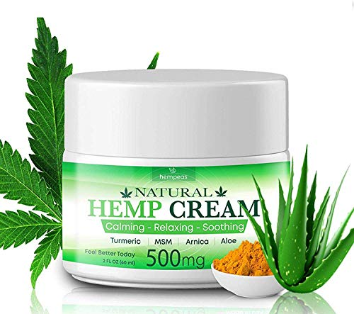 Hempeas Organic Hemp Pain Relief Cream, 500 Mg, Made in USA, Non-GMO, Natural Hemp Extract Cream for Joint, Muscle, Back, Neck, Knee Pain with Arnica, Aloe, MSM & EMU Oil