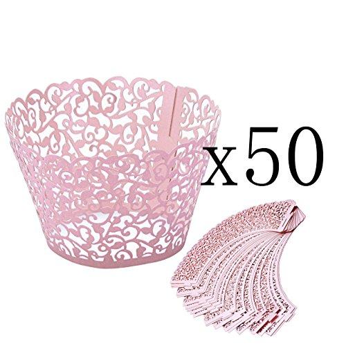 Mogoko 50 STK. Cupcake Wrappers Hohl Cupcakeförmchen Kuchen Pappbecher Verpackungen Kuchenverpackung für Hochzeit Geburtstag feiern Baby Dusche Dekoration (Rosa)
