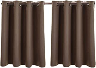 Pang Xiannv 2PC Insulated Foam Lined Heavy Thick Blackout Grommet Window Curtain Panels Embroidered Sheer Curtains Gray Sheer Curtains Grommet Drapes Blackout Window Curtain Panel for Bedroom