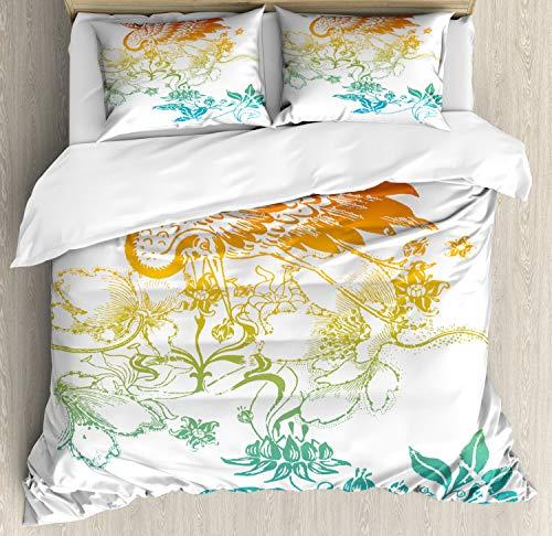 ABAKUHAUS Kraan Dekbedovertrekset, Oosterse Vogel met Bloemen, decoratieve 3-delige bedset met twee sierslopen, teal Oranje