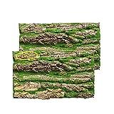 PINVNBY Cork Terrarium Background,Reptile Bark Backdrop Wall Decor and Artificial Moss for Gecko,Lizard,Tortoise,Chameleon (2 Pack)