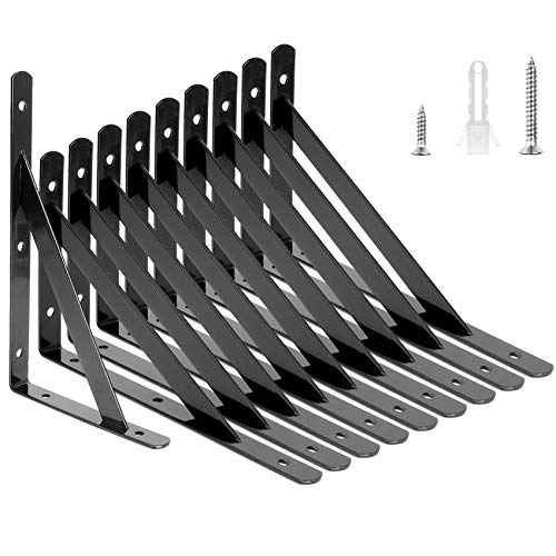 10 Pack Heavy Duty Shelf Brackets 7.8 x 4.7 inch, Holdware Black Shelving Bracket Wall Mounted Triangle Shelf Brackets 90 Degree Angle Shelf Supporter Corner Bracket for Floating Shelves (200x120mm)