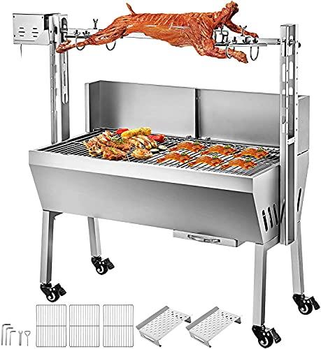 Moracle Asadora Barbacoa 60KG Asador Giratorio Parrilla de Carbón Asador Jardín BBQ Barbacoa al Aire Libre Asado a la Plancha Cerdo Pollo (60kg)