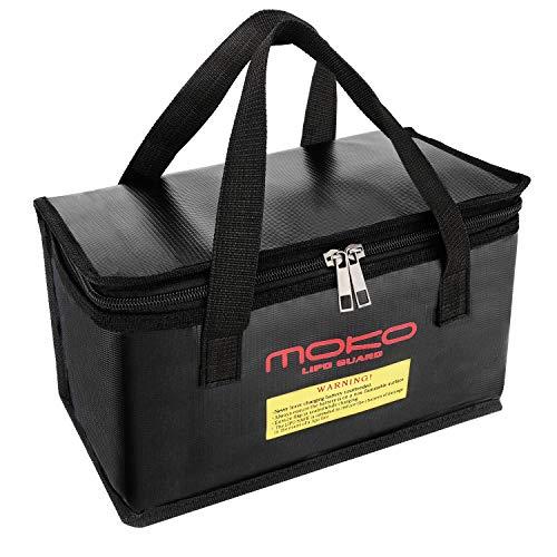 MoKo Fireproof Explosionproof Bag, Portable Explosion-Proof Safety Bag Storage Guard Safe Sleeve Box for Lipo Battery Safe Storage/Charging, Zipper Closure - Schwarz