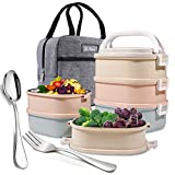 Mr.Dakai Stackable Bento Lunch Box, 3-Tier Compartment Thermal Stainless Steel Insulated Lunch...