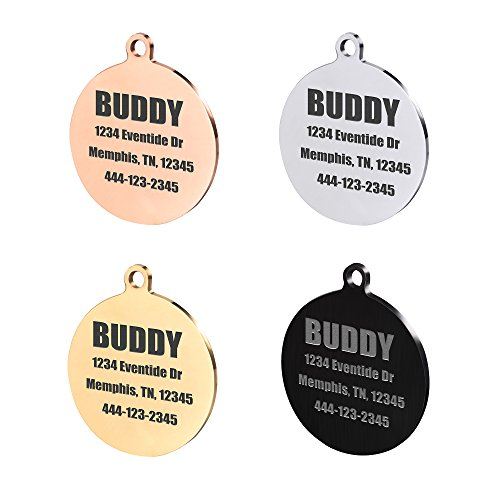 Caramel Round Stainless Steel Pet ID Tags, Personalized Dog Tags for Free Engraving Front & Back (Regular, Rose Gold)