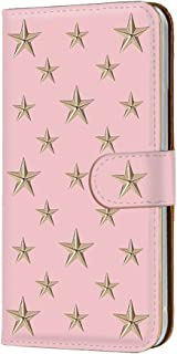 手帳型 カードタイプ スマホケース LG isai vivid LGV32 用 [スタッズ風・ピンク金星] 星柄 スター 3D柄 エルジー イサイ ビビッド au スマホカバー 携帯ケース スタンド stud 00r_106@05c