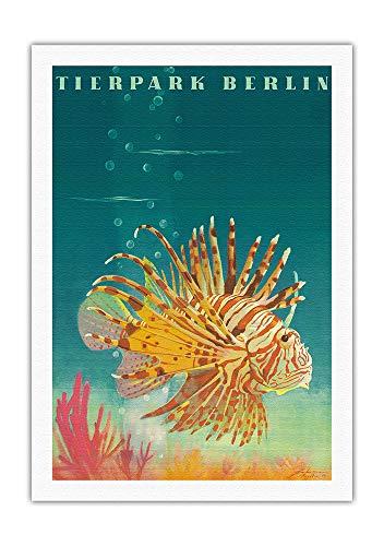 Pacifica Island Art - - Feuerfisch - Zoo und Aquarium - Retro Museums Plakat von Horst Naumann c.1964 - Leinwand Kunstdruck - 69 x 102 cm