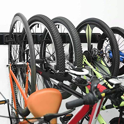 SETROVIC Wall Mount Bicycle Rack, Bike Rack Garage Storage 5 Bicycles Hooks Wall Mount Bike Hanger for Home and Garage (5 Hooks and 2 Rails)