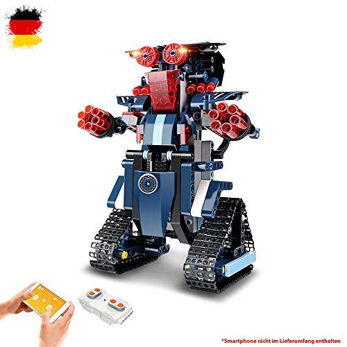 Robot teledirigido de piedras de construcción con control adicional mediante smartphone a través de la aplicación, modelo con batería integrada, juego de montaje, Jeep, coche DIY