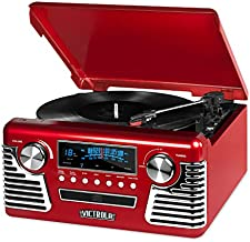Victrola 50's Retro Bluetooth Record Player & Multimedia Center with Built-in Speakers - 3-Speed Turntable, CD Player, AM/FM Radio | Vinyl to MP3 Recording | Wireless Music Streaming | Red