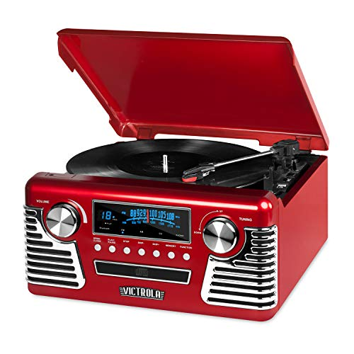 %9 OFF! Victrola 50's Retro Bluetooth Record Player & Multimedia Center with Built-in Speakers - 3-S...