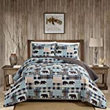 Rustic Modern Farmhouse Cabin Lodge Stripe Quilted Bedspread Coverlet Bedding Set with Patchwork of Grizzly Bears and Buffalo Plaid Check and Houndstooth Patterns Beige Blue - Western 2 (Full/Queen)