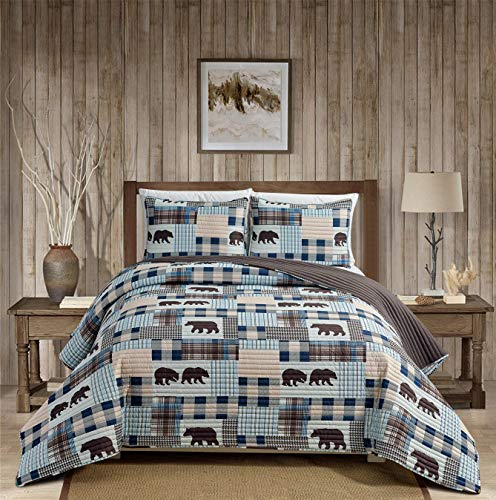 Rustic Modern Farmhouse Cabin Lodge Stripe Quilted Bedspread Coverlet Bedding Set with Patchwork of Grizzly Bears and Buffalo Plaid Check Houndstooth Patterns Beige Blue - Western 2 (King/Cal-King)