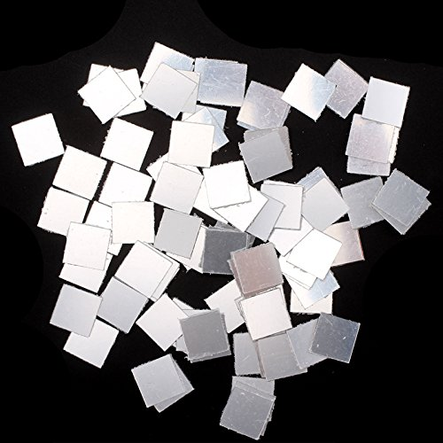 Shoze 100 Pcs Mirror Tile Mosaic 3D Decal Wall Sticker Small Square DIY Crafts Room Bedroom Decor