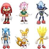 Decoración De Pastel De Sonic,6Pcs Sonic Mini Juego De Figuras,Sonic Cake Topper Pastel,Mini Muñeca Hecha a Mano Shower Fiesta Cumpleaños Pastel Decoración Suministros Para Niños Animales Juguetes Set