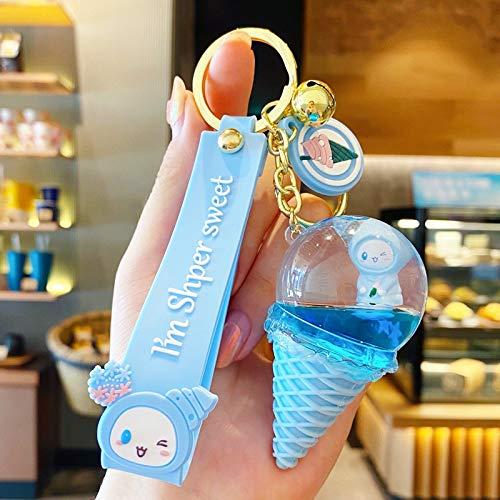 Llavero lindo de dibujos animados de cristal helado llavero de PVC llavero para mujer bolso de los dijes del coche titular de la llave de los accesorios de los amantes de la joyería (color: ZZ 01)