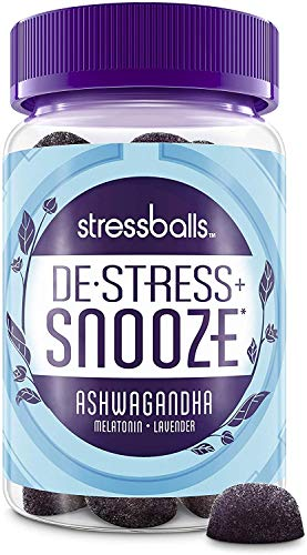 Stressballs, De-Stress + Snooze*, with Melatonin and Ashwagandha to Aid in Sleep and Stress Relief*, Chamomile & Lavender Herbal Blend, Non-Habit Forming Supplement, 46 Gummies
