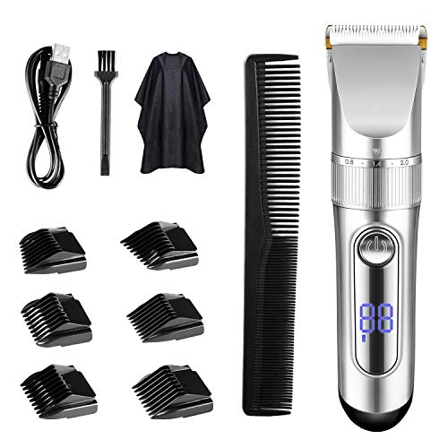 TTLIFE Hair Clippers Cordless Rechargeable Led Display with 6 Guide Combs(Two Modes are Suitable for Adults and Children)