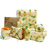 Thisam Kitchen Beeswax Food Wrap 4 Pack - Eco Friendly Reusable Food...