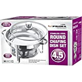 4.5 LTR STAINLESS STEEL CHAFING DISH SERVING OCCASION FUEL GLASS LID NEW ROUND