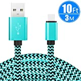 USB Type C Cable 10ft/3m, CC-Show Nylon Braided Fast Charger USB 2.0 High Speed Data Sync Cord for Samsung Galaxy Note 8/S8+,Pixel,Nexus,Nintendo Switch,MacBook, and More with Type C Port (Green)