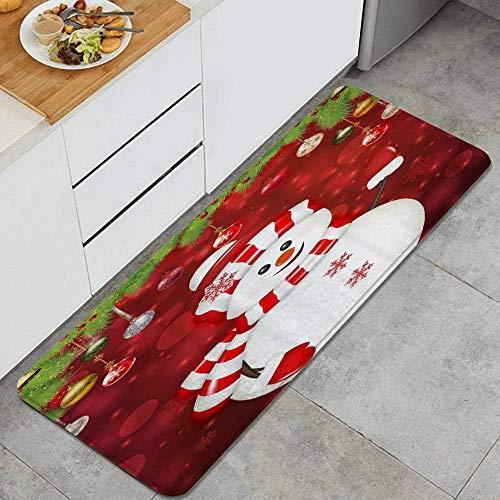 PANILUR Alfombras para Cocina Baño de Cocina Absorbente Alfombrilla,Navidad muñeco de Nieve Bolas de Navidad Copo de Nieve,para Dormitorio Baño Antideslizantes Lavables