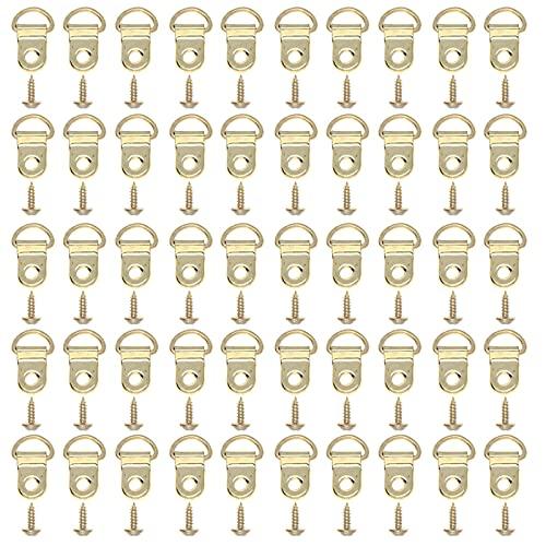 Aloces 50 ganchos para colgar marcos de fotos, triangulares, anillo en D, ganchos para colgar cuadros, ganchos para colgar con tornillos, para casa u oficina (dorado)