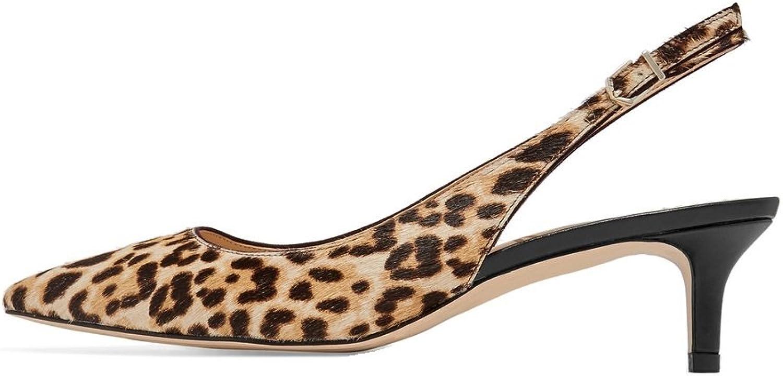 Sammitop Women's Pointed Toe Kitten Heel Pumps Leopard Print Mid Heel Genuine Leather Dress shoes