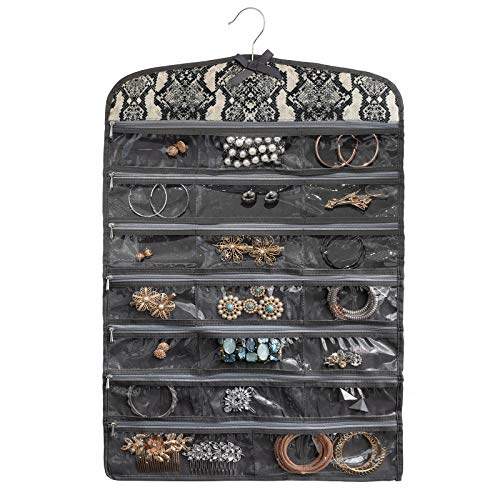 "Once Upon a Rose Hanging Jewelry Organizer with Zippers, Over The Door Jewelry Organizer, Double Sided with Clear Pockets, 17"" x 30"", Includes Hanger (Snake Print)"