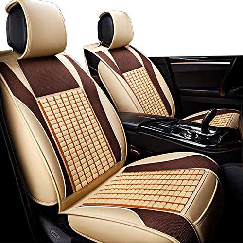 Autostoel, Koel En Warmte-Reliëf Bamboe Blad Is Sterk En Duurzaam Autostoelkussen, Gereserveerde Veiligheidsgordel Kaartsleuf, Achter Split Ontwerp