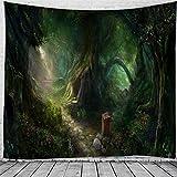 KHKJ Tapiz psicodélico, tapices de Setas de brujería, tapzi de Bosque Verde, Colgante de Pared para decoración del hogar, Sala de Estar, Dormitorio A9 200x180cm