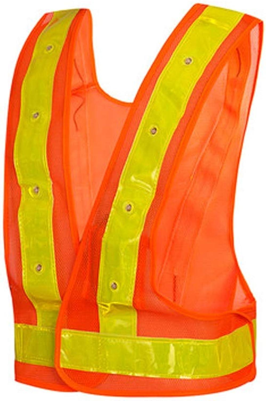 RMJAI Vests 16 LED Light Up Cycling Traffic Outdoor Night Safety Warning Vest (Led Safety Vest orange) 26x22.8inches Reflective Vests