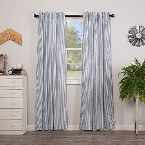 VHC Brands Sawyer Mill Blue Window Panel Set Room Darkening Farmhouse Drapes Striped Pattern 84x40 Curtain