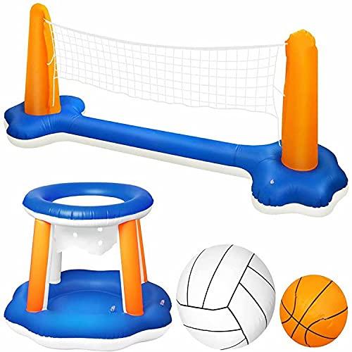 Nadmuchiwany basen pływający zestaw siatka do siatkówki i kosz do koszykówki, odpowiedni dla dzieci i dorosłych zabawki do pływania, imprezy przy basenie, boiska do siatkówki