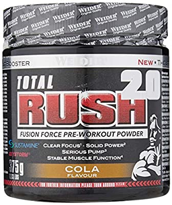 Weider Total Rush 2.0 Pre-Workout Formula, Cola, The Legal Pre-Workout, Focus + Power, Serious Pump, 15 servings