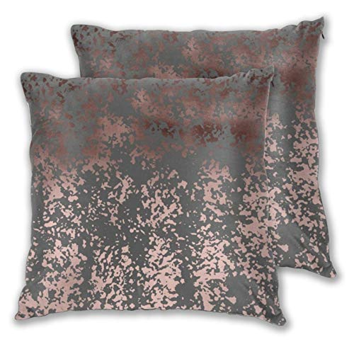 Juego de 2 fundas de almohada cuadradas, elegantes fundas de almohada de imitación oro rosa y gris para el hogar, decoración suave para dormitorio, sofá, sala de estar, 45,7 x 45,7 cm