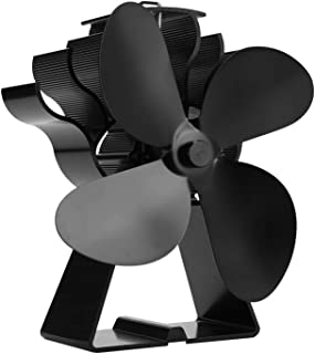 VIVOHOME Aluminum 4 Blade Heat Powered Stove Fan for Wood Burning and Circulating Warm