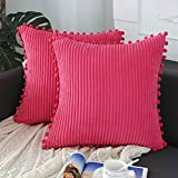 sykting Hot Pink Pillow Covers 18x18 inch Soft Striped Boho Farmhouse Decorative Throw Pillow Covers with Pom Poms for Couch Sofa Bed Chair Outdoor Pack of 2