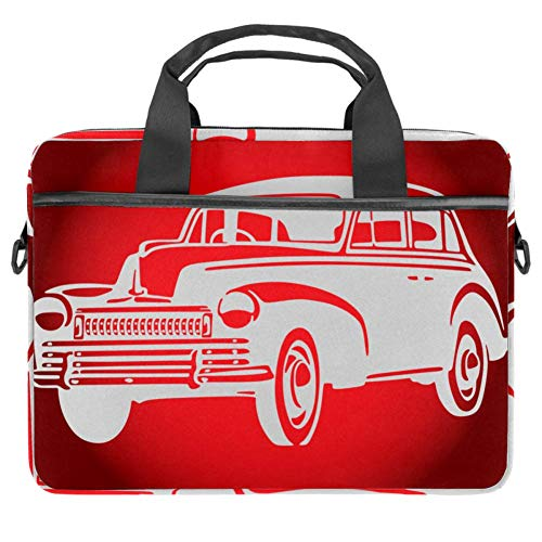 14.5-Inch Laptop Computer and Tablet Shoulder Bag Carrying Case Travel Computer Bag Vintage Car Design Pattern