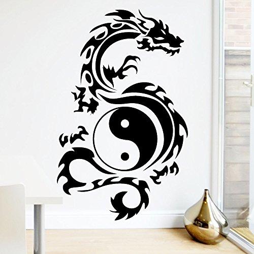 Wandtattoo-Loft Tribal Zeichen Yin Yang Drache - Wandtattoo / 49 Farben / 3 Größen/Wandaufkleber/Wandsticker/schwarz / 80 x 129 cm (B x H)