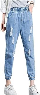 Mujer Cintura Elástica Pantalones Vaqueros Rasgado Sueltos Jeans Pantalones de Mezclilla